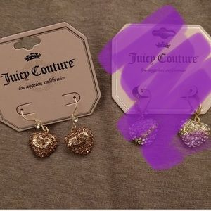 NWT Juicy Couture pave gold heart earrings